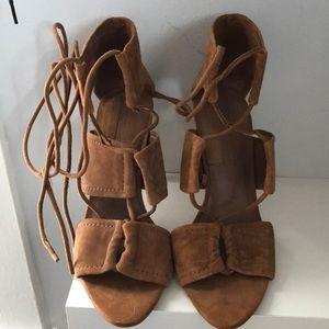 Suede Zara tie up heeled sandals